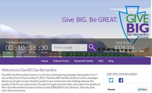 We just blasted thru our goal of $300k and reached almost $375k within the last hour!! @givebigsbcounty @SBcountyNow http://t.co/LC0cRK8ieT