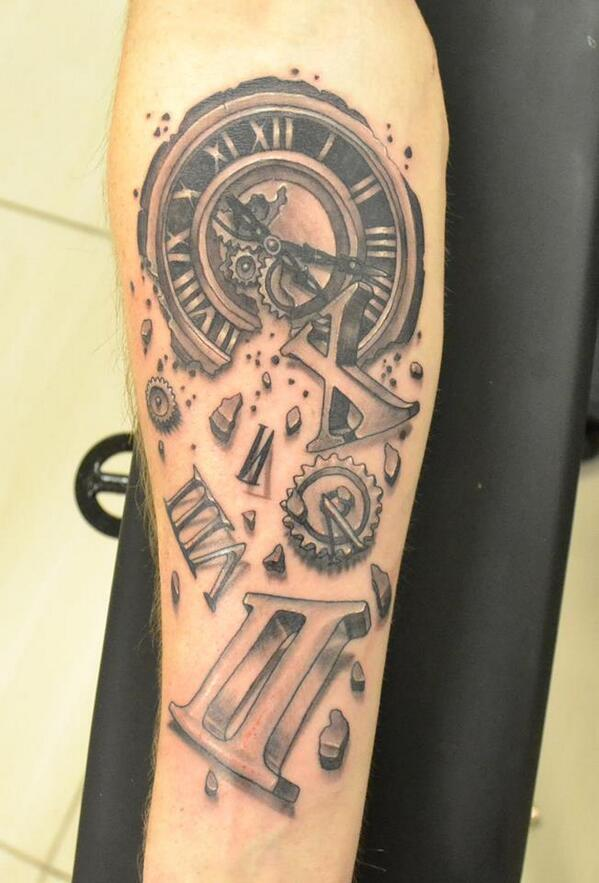Exploding clock tattoo images for Time piece tattoos