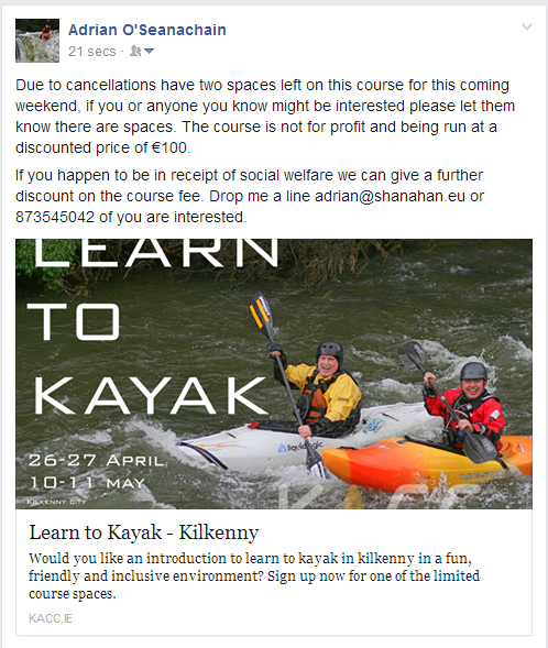Due to last min cancellation I have 2 spaces on learn to kayak course in #kilkenny this weekend. Be great craic like http://t.co/FVa1ybnUBM