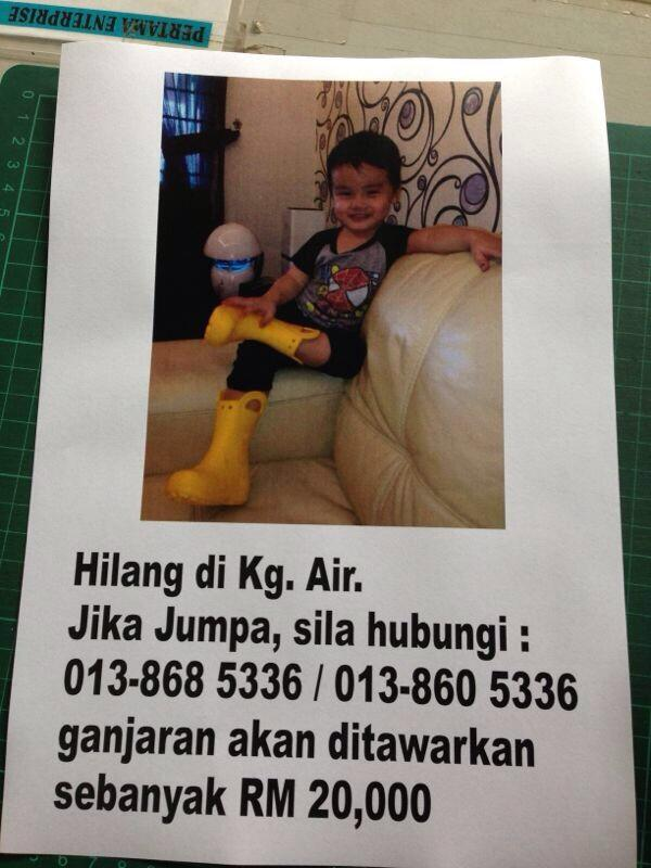 "Please help find this boy who being ""kidnapped"" in Kg. Air, Kota Kinabalu. Reward RM20K! RT pls! #KKCity http://t.co/bZ9tRJ51M8"