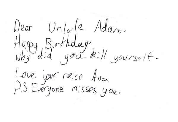 Talking to my 9 yr old about brothers birthday today, explaining why he died 4 years ago. Her touching note. http://t.co/bzvxCKiGnU