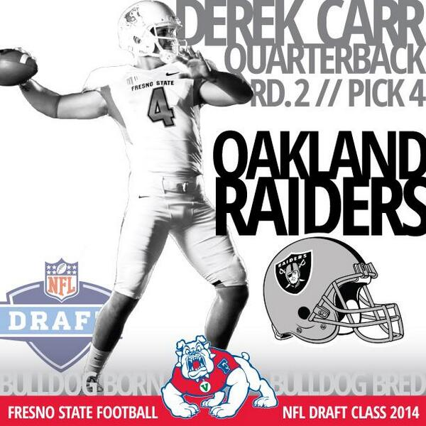 Congrats to @derekcarrqb for being drafted by the Oakland @RAIDERS! #GoDogs #BulldogBornBulldogBred http://t.co/gGk66THUWQ