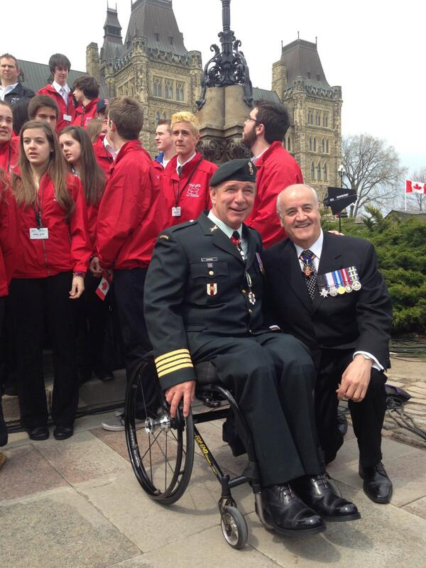 With @RickHansenFdn, who did great job MC'ing the #DayofHonour for those who served Canada in Afghan mission. http://t.co/nbp9nWrlcj