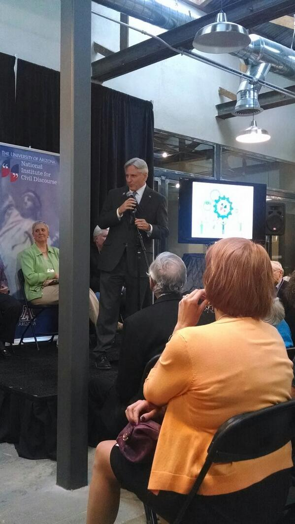 The man behind the idea for the National Institute for Civil Discourse @FredDuVal speaking at 3rd anniversary http://t.co/xDt5rcmrKL