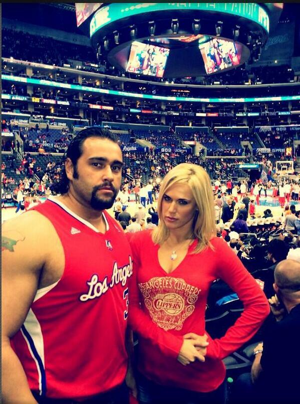 Rusev and Lana at a Clippers game #WWE