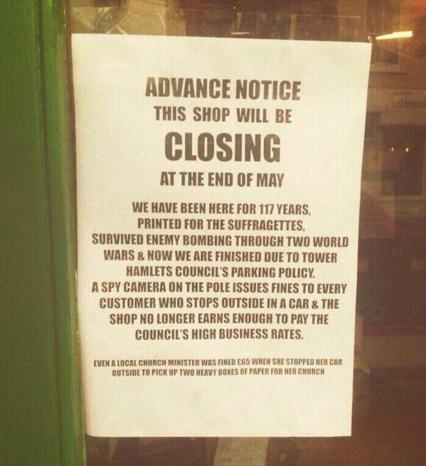 Sign of our times RT @SoLiTaNq: Over zealous parking wardens kill trade. Manchester please take note. http://t.co/idg3its5kf