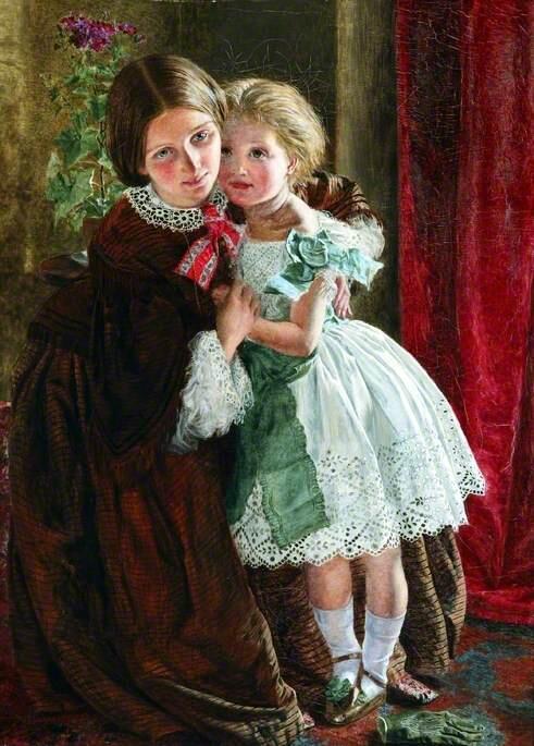 1858年、イギリスの画家Frederick Smallfield(1825-1915)の作品。 19世紀中頃以降、ルソーの『エミール』をきっかけとして子供の服装は大人と区別され、締め付けの少なく動きやすいものとなっていった。