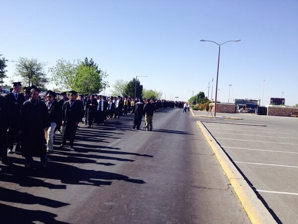 Heading in. Graduates as far as the eye can see. #nmsugrad http://t.co/E3XQhFP3ZD