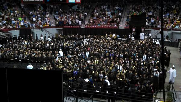 NMSU's first commencement ceremony of the day getting started. Lots of excited students. http://t.co/So0mY1NZkX