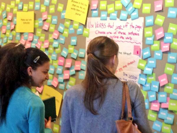 "Exploding post it's with intriguing verbs like ""shanghai"" and ""devour"" @WriteGirlLA fiction workshop @MakerCityLA http://t.co/RVnNDrFmsR"
