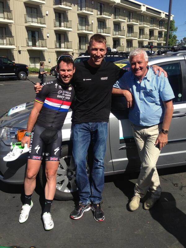 Great to see some old friends here @AmgenTourofCali . @MarkCavendish @PatLefevere . http://t.co/59wTFnc0bA