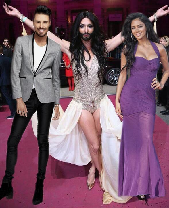 Right now @Rylan & @NicoleScherzy must be feeling justifiably proud for their FABULOUS daughter Conchita! #Eurovision http://t.co/4FOU17ywRL