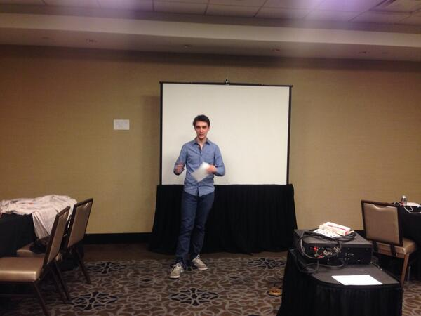 benmarks: #MagentoImagine Hackathon project pitches going on... we'll be hacking till next week! Here's @daniel_sloof: http://t.co/DEXmkvan9R