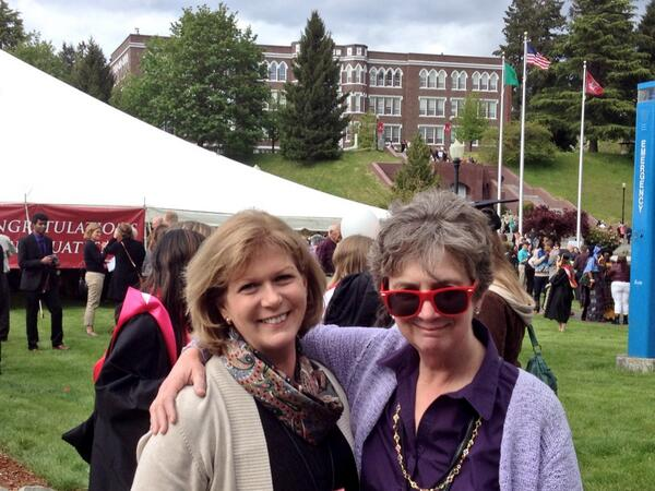 With Ann Adams; looking very cool Meg! #gosaints #SMUGrads2014 http://t.co/WVPhrrwFCu