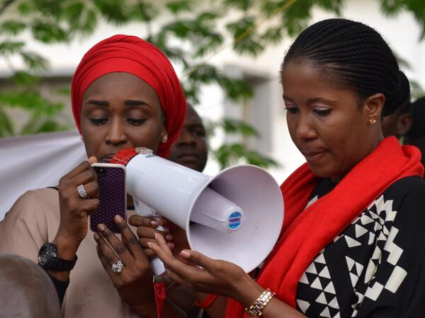 Tearful reading of abducted girls' names in #Abuja where protests for them began. @BBOG_Nigeria #BringBackOurGirls http://t.co/cgRlqob1gz
