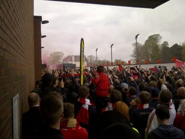 For one final time this season, the road block on Anfield Road. The welcoming committee as big as it's been. http://t.co/IJOdtOvHwu
