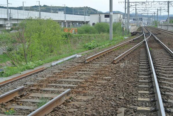 ただ今木古内。江差へ向かう分岐点のレールが剥がされて、踏切に柵が敷かれている現実を目の当たりにしてようやく廃線になってしまったと実感。無くなった鉄路(江差線)、これから出来る鉄路(新幹線)、そして現役の鉄路(海峡線)がこの一枚に凝縮。 http://t.co/Oxu656tWIK