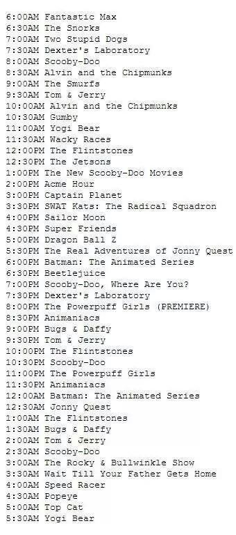 1998 Weekday Schedule Of Cartoon Network Asia