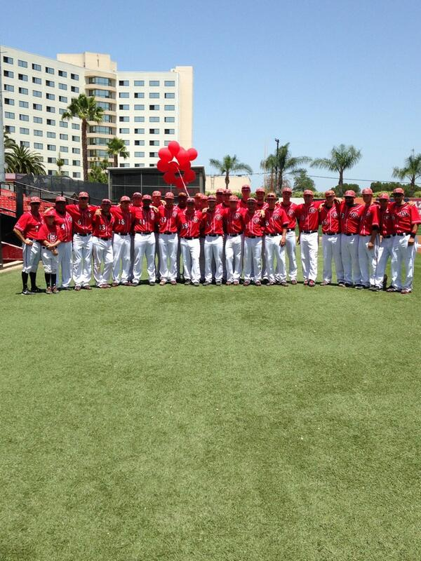 Wore red uniforms today in honor of Ryan Saldana. Rest in peace little man #redballoonsforryan #sdsubaseball http://t.co/z42IBWw0dp
