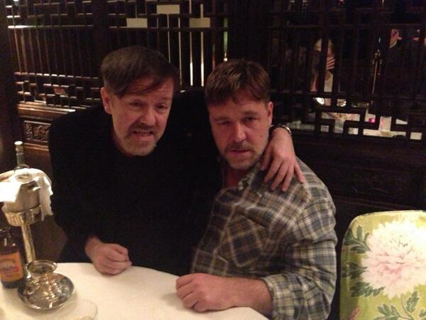 """@rickygervais: .@JaneFallon & I feel a bit hungover this morning. And it's all Noah's fault :) "" Haha Derek and Noah"