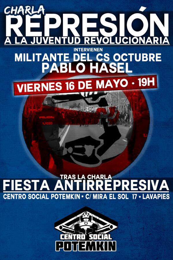 [Iniciativa Comunista - I.C Madrid] Charla: la represión a la juventud revolucionaria. Con Pablo Hasel y un militante del CS Octubre BnbbwhtCAAEJTFN