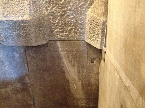 Yep.  That's a repair to a crack after the earthquake.  Monument now open again! http://t.co/mMzht4LnYF