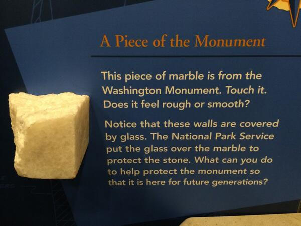 This chunk of marble was attached to the #WashingtonMonument until that 2012 earthquake shook it loose. #MonuMeet http://t.co/TNFjtHwAMU