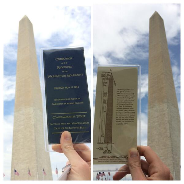 Awesome. Major thx to @interior for inviting us to celebrate today's reopening of the #WashingtonMonument! #MonuMeet http://t.co/x7DmjT3fpU