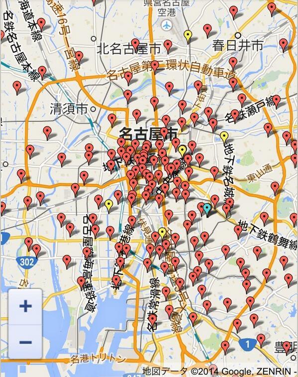 「名古屋はコメダ珈琲で六芒星が描ける」ってツイートが今日やたら回ってるけど、こんだけコメダあるんだからそりゃ六芒星も描けるよ。 pic.twitter.com/VdcnNPNyrq