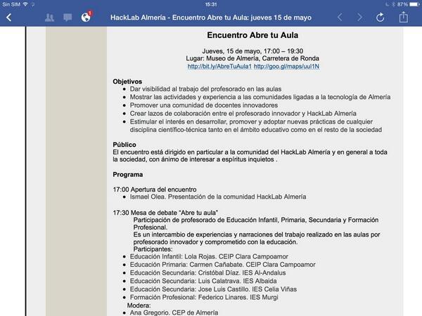 """Vamos! Encuentro HackLab """"Abre tu Aula"""".Jueves 15 de Mayo. En Museo de #Almería a las 17:00 h. Conocimiento abierto. http://t.co/t9uxf6hTrc"""