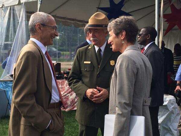 Great to be joining @SecretaryJewell and @NatlParkService director Jarvis for the #WaMoReopening this morning http://t.co/22lTD8QgEJ