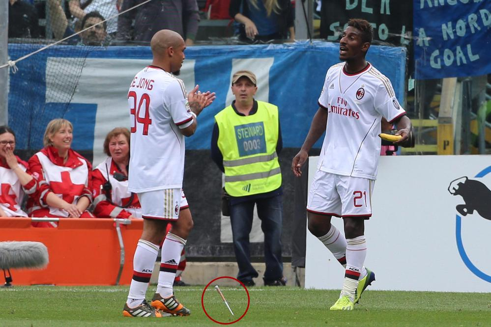 SHOCKING: Did an Atalanta fan throw a knife at AC Milans Nigel De Jong & Kevin Constant? [Pictures]