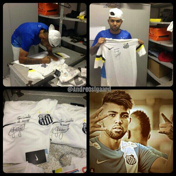 I got 3 signed Gabigol shirts, and I'm thinking of giving them away as prizes. RT and follow if I should do it. http://t.co/nyjLiJojGw