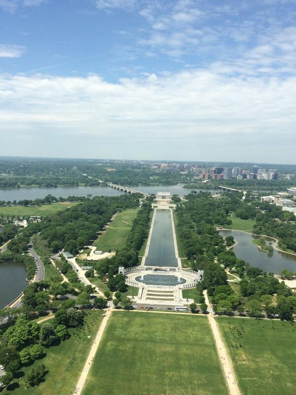 Turns out the #WashingtonMonument is tall. View from the top! #HelloLincoln #MonuMeet http://t.co/hj7eLccfyO