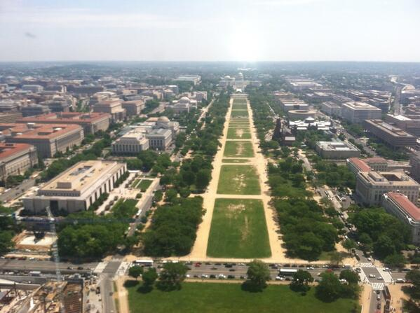View of the Mall and US Capitol from top of the newly reopened Washington Monument. More tonight on @CBSEveningNews http://t.co/kQd8fH74Yu