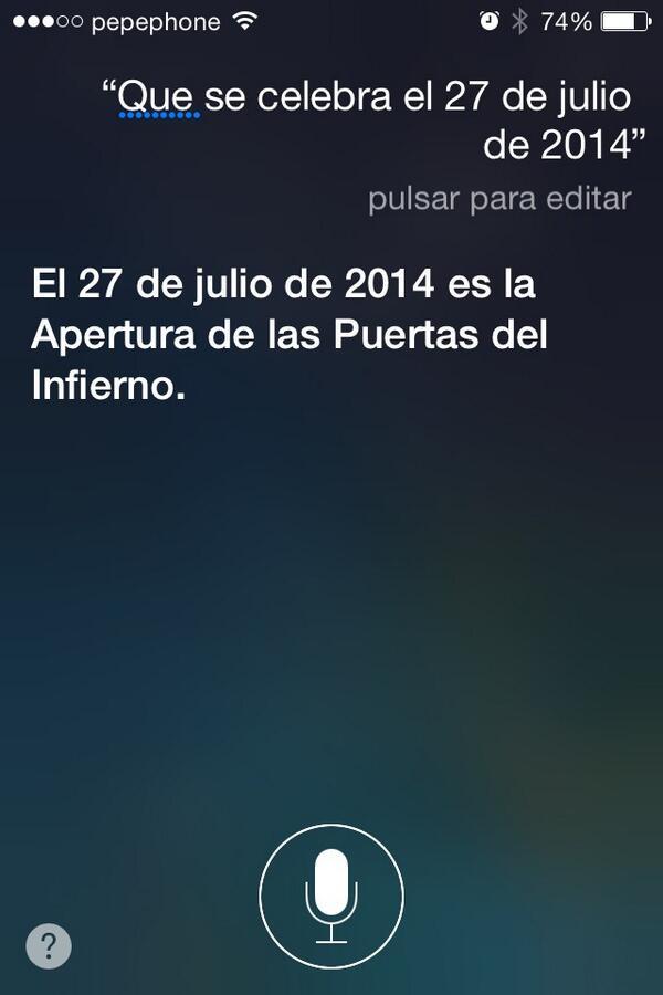 Qué se celebra el 27 de julio de 2014. Siri tiene la respuesta... http://t.co/76e5SpHrcM