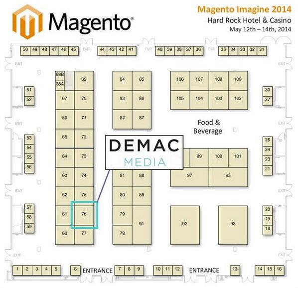 demacmedia: All settled in. Check us out over at Booth #76 in the Marketplace. Come by for a chat & cool swag at #MagentoImagine. http://t.co/pQXYjzb1rb