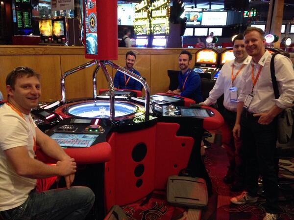 drlrdsen: Colleagues from @flagbit doing what they do best, well almost #magentoimagine @Hannes0815 @fbthakilla @_MarcoBecker http://t.co/SfhHPTGU4J