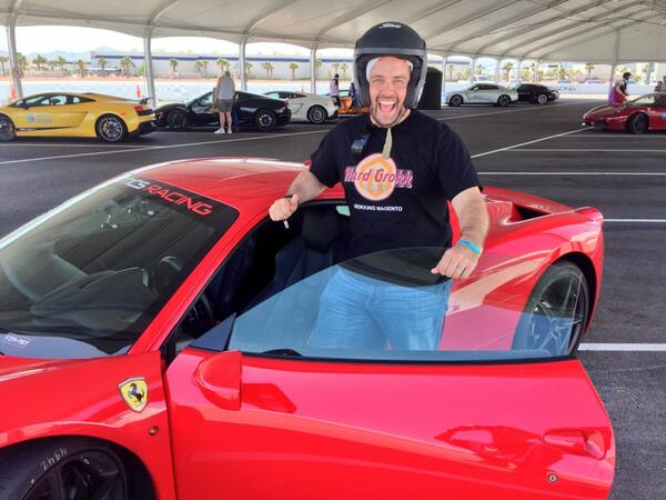 benmarks: 'The Ferrari 458 Italia. It's his love, it is his life...' 'It's his fault he didn't lock the garage' #MagentoImagine http://t.co/nBu6N07mRv