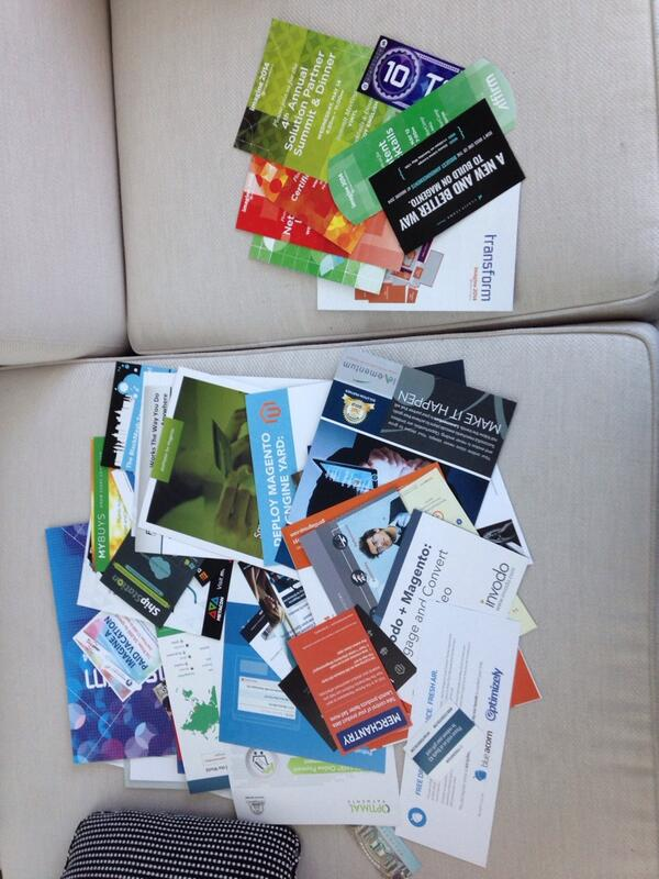 drlrdsen: The comparison of conference bag contents: useful info vs waste of trees 1:10! #magentoimagine http://t.co/E871mXGtwI
