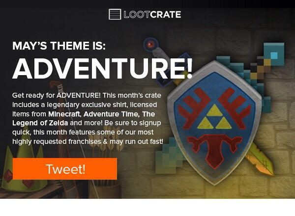 Adventure themed @lootcrate for May! Get yours at http://t.co/dc1LM7jWL3 enter gotgamerloot and save 10% http://t.co/60S4r58PDK