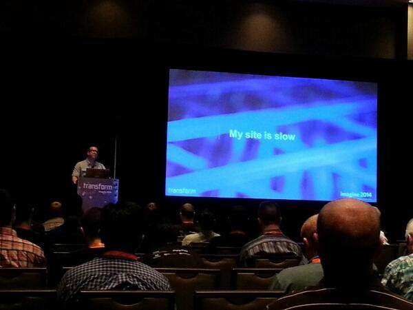 magento_rich: Nick giving his #Magento bar camp presentation. Topic on performance issues. #magentoimagine http://t.co/a5U2bxEUL1