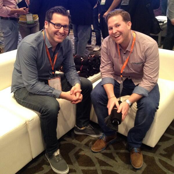 demacmedia: Our VP of Strategy @jschreter and Noah from #Ardene keeping it real at our booth at #MagentoImagine! http://t.co/FJpiL0qe7r