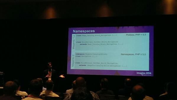rogyar: Exploring the new features of #magento2 . Namespaces, finally. #MagentoImagine #Bar Camp http://t.co/FoyhSZU8sl