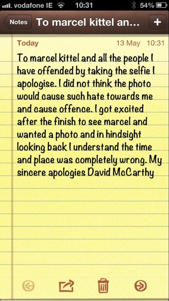 I know @davidmccarthy12 he is a nice kid. He has just send me this post to tweet. @marcelkittel http://t.co/SYhpeHhsZw
