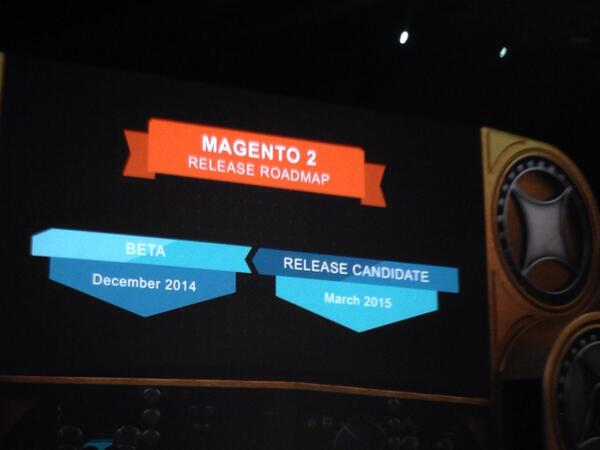 phoenix_medien: #Magento2 roadmap announced: Beta in December this year, RC in March 2015 #MagentoImagine http://t.co/RM3mzMb33J