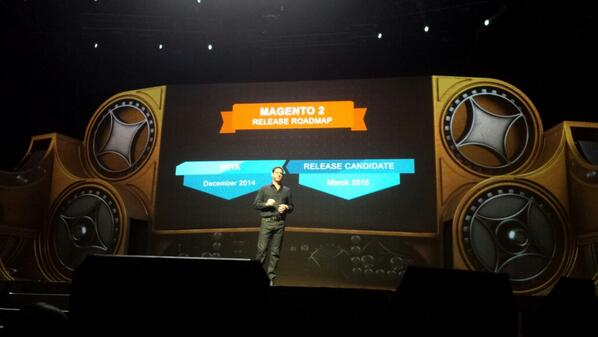 flagbit: #magento2 will be availible in 2015!!! We all are looking for to this ;) #MagentoImagine http://t.co/B3CWxHY2NP