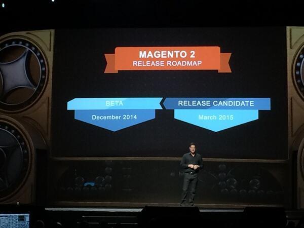pinofilice: @MeetMagentoIT ecco la notizia che tutti stavamo aspettando.Magento 2 sarà disponibile entro il 2014 #MagentoImagine http://t.co/YhnO1Ln0lh