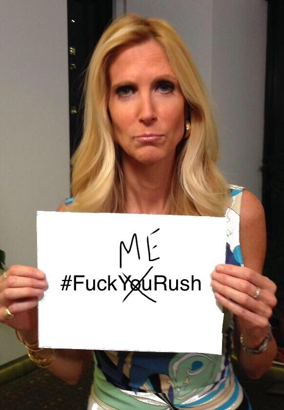 .@AnnCoulter's NEW hashtag contribution to the world.. & her secret desire #FuckYouRush #AnnCoulter http://t.co/PS0kRsYTKN