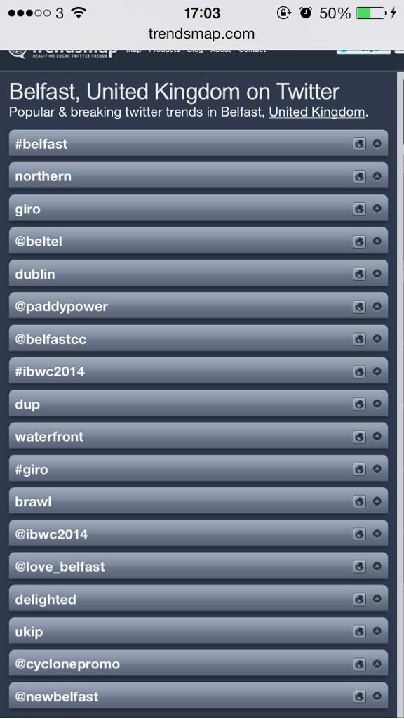 Guess what's trending in Belfast today @IBWC2014 !! #IBWC2014 #Belfast http://t.co/P5JSyDrPKh